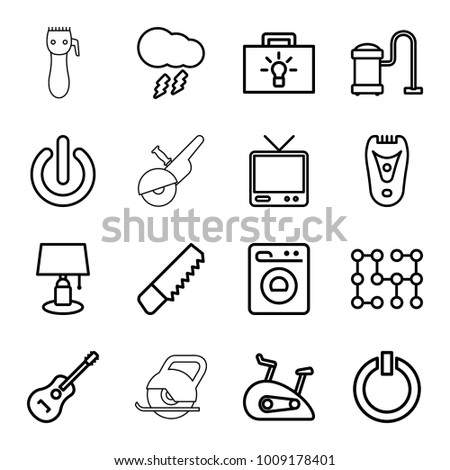 Electric Icons Set 16 Editable Outline Stock Vector Royalty Free