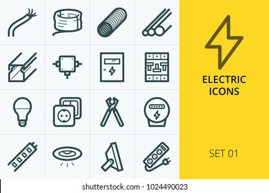 Electric icons set. Set of electric cable, pvc pipes, led lamps and spot lights, relay, electrical products.