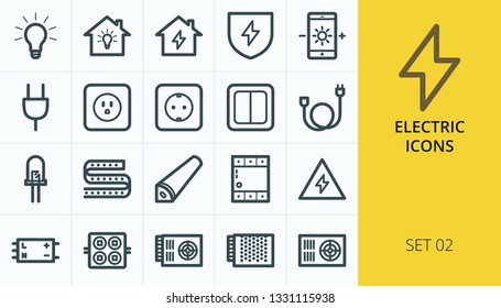 Electric icons set. Set of home electrification, electric socket, extension cable, wire, cord, led diode, power supply, diode strip vector icons