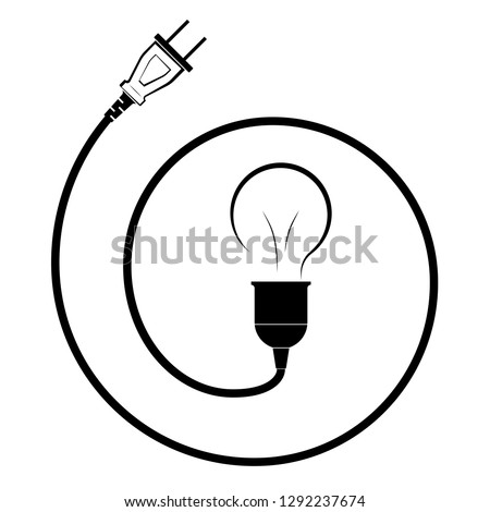 Electric Incandescent Lamp Wire Plug Logo Stock Vector Royalty Free