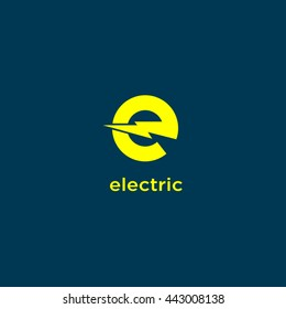 "Electric Industrial. Power logo. The letter ""E"" with lightning on a dark background."