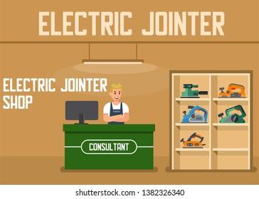 Electric Jointer Shop Online Order Service Flat Vector Presentation Banner Landing Page Illustration Man Seller Offering Consultation for Clients Cash Register Desk Shelves with Power Tools for Sale