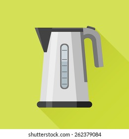 Electric kettle flat style icon on green background. Vector illustration.