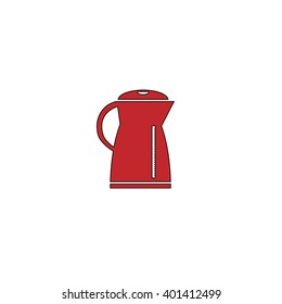 Electric kettle. Red flat simple modern illustration icon with stroke. Collection concept vector pictogram for infographic project and logo