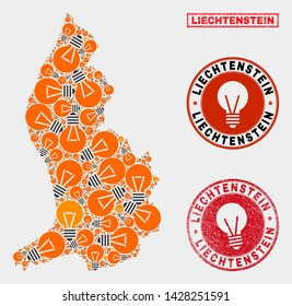 Electric lamp mosaic Liechtenstein map and grunge round stamp seals. Mosaic vector Liechtenstein map is composed with light lamp items. Abstraction for innovation business. Orange and red colors used.