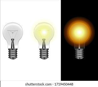 Electric lamps. Set of realistic light bulbs glowing in day and night. Electricity concept. The symbol of creativity in business and ideas. Vector white background isolated.