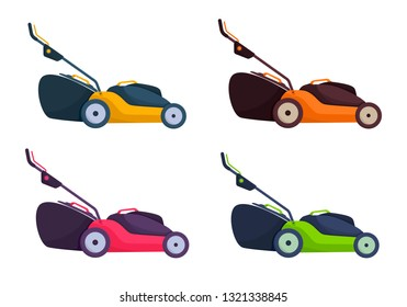 Electric lawn mower in summertime. Lawn grass service concept. Flat style. Vector Illustration.