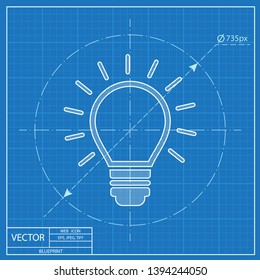 Electric light bulb with rays vector blueprint icon