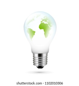 Electric light bulb with a world globe. Vector illustration.