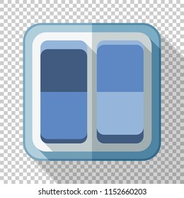 Electric light switch icon in flat style with long shadow on transparent background