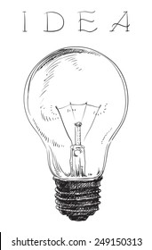 Electric lightbulb. Vector pf Light bulb on white background at engraving style.