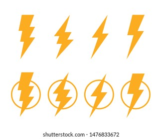 Electric lightning, set of icons on a white background. Vector illustration