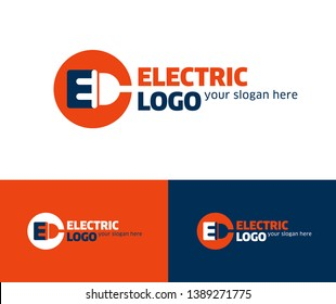Electric logo design template with electric plug and E letter together in a round frame. Vector.