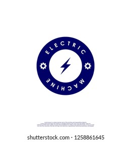 ELECTRIC MACHINE logo circle in the dark blue color design concept