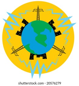Electric main and electricity for night city electric light of planet (Earth).