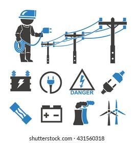 electric man icons set