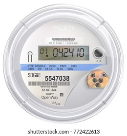 Electric Meter Front View with Copy Space Isolated on White Background. Smart meter. Realistic vector.