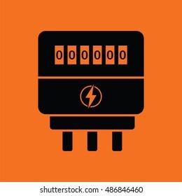 Electric meter icon. Orange background with black. Vector illustration.