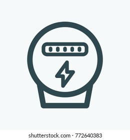 Electric meter isolated icon, electricity meter linear vector icon