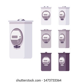 Electric meter measurement box set. Home electrical equipment, energy meter system with display. Vector flat style cartoon illustration isolated on white background, different views and colors
