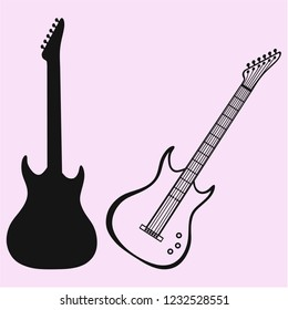 electric modern guitar vector silhouette isolated