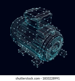 Electric motor frame made of blue lines with glowing lights on a dark background. Isometric view. 3D. Vector illustration
