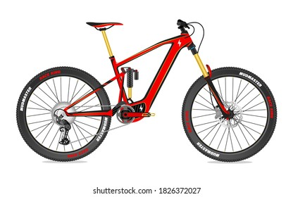 Electric Mountain bike concept full suspension Vector illustration