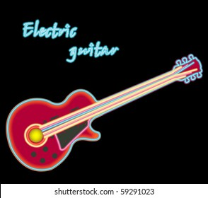 electric neon guitar against black background, abstract vector art illustration