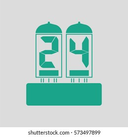 Electric numeral lamp icon. Gray background with green. Vector illustration.