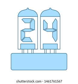 Electric Numeral Lamp Icon. Thin Line With Blue Fill Design. Vector Illustration.