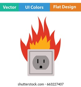Electric outlet fire icon. Flat color design. Vector illustration.