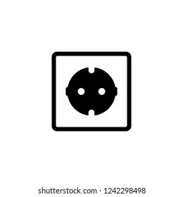 Electric outlet icon. White background with shadow design. Vector illustration.