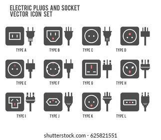 Electric outlet illustration. Different type power socket set, vector isolated icon illustration for different country plugs. Power socket - World standards icons set