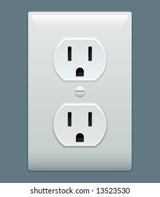 Electric outlet illustration on blue gray background