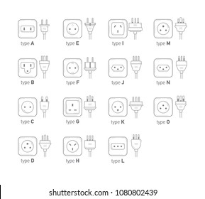 Electric outlet illustration on white background. All type power socket set, vector isolated icon illustration for different country plugs. Power socket - World standards icons set