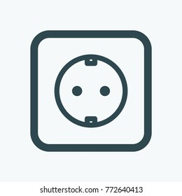 Electric outlet isolated icon, power outlet linear vector icon