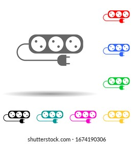 electric outlet multi color style icon. Simple thin line, outline vector of web icons for ui and ux, website or mobile application
