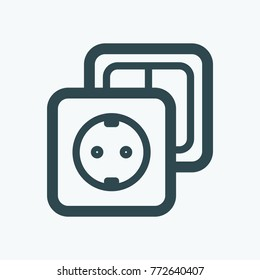 Electric outlet and switch isolated  vector icon