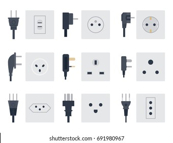 Electric outlet vector illustration energy socket electrical outlets plugs european appliance interior icon.