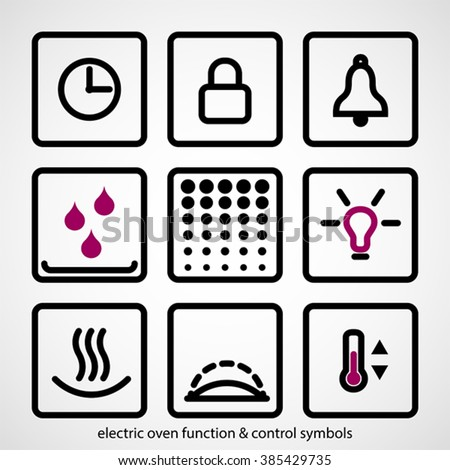Electric Oven Function Control Symbols Outline Stock Vector Royalty