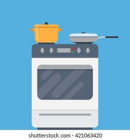 Electric oven and saucepans. Kitchen appliances, kitchen interior, utensils concepts. Front view. Modern flat design vector illustration isolated on blue background