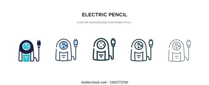 electric pencil sharpener icon in different style vector illustration. two colored and black electric pencil sharpener vector icons designed in filled, outline, line and stroke style can be used for