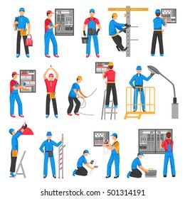 Electric people decorative icons set with electricians performing electrical works indoors and outdoors flat vector illustration