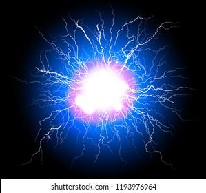 electric plasma lightning thunder ball discharge indigo blue