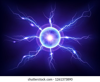 Electric plasma lightning thunderball discharge on dark background. Realistic vector illustration