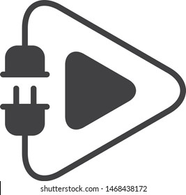Electric play icon, vector line illustration