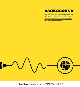 Electric plug background. Circuit board sign icon. Technology scheme circle symbol. Yellow poster with black sign and cord. Vector