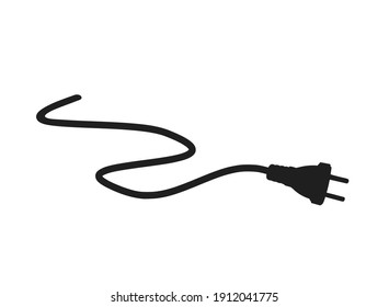 Electric plug with cable. electricity and energy symbol. isolated vector image