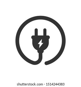 Electric plug with circle cable and leaf vector icon. Electric power plug circle simple glyph sign.
