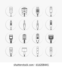 Electric plug, connectors and jack flat line icons set. Collection Connection technology, connector electric power, mobile devices connect, audio, video, wire and socket